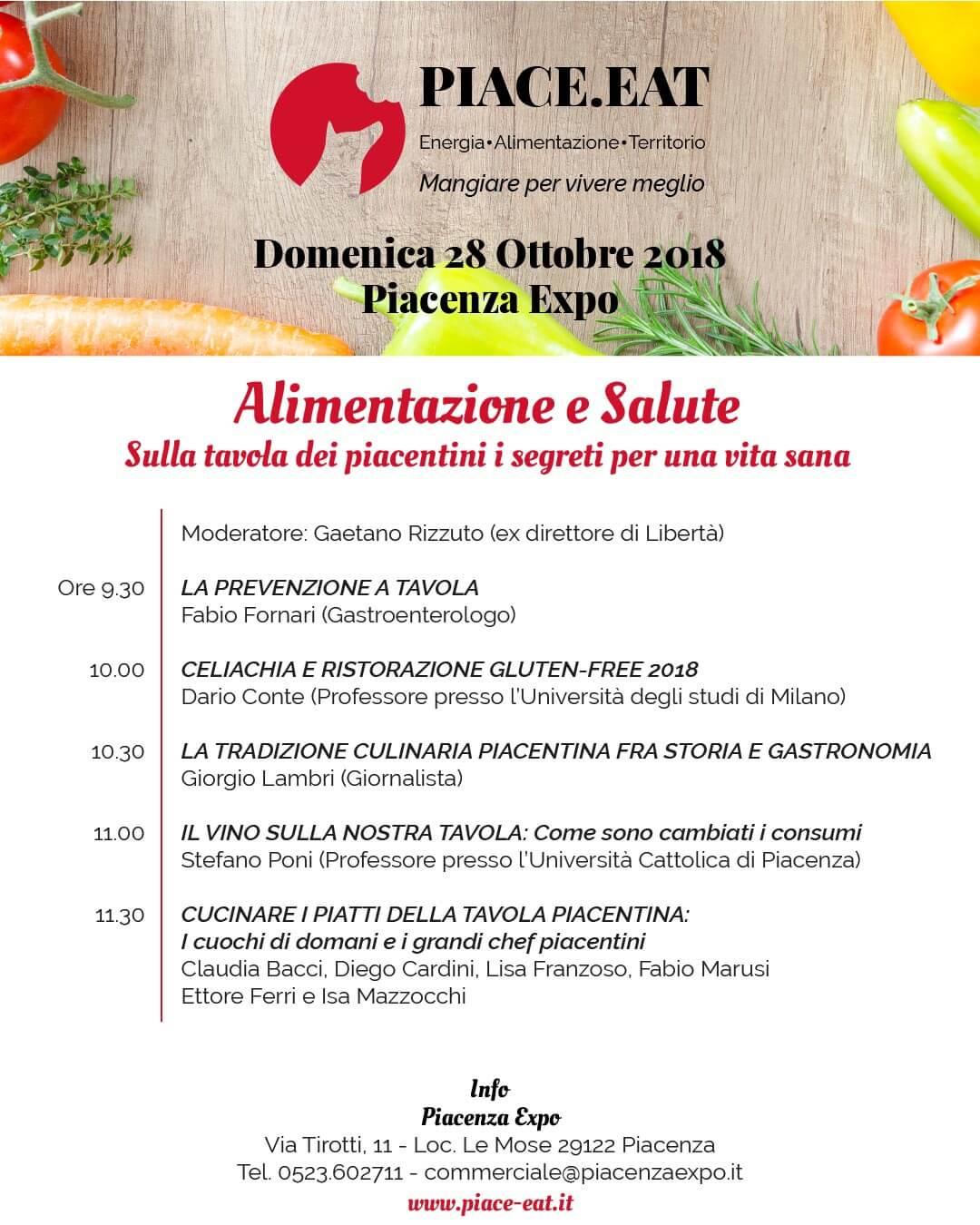 La mattina del 28 Ottobre, dalle 9.30, illustri professionisti piacentini per un incontro sull'importante legame tra gastronomia e salute
